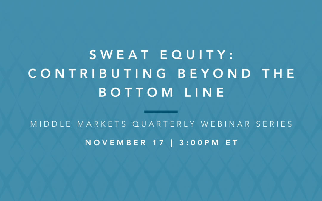 sweat equity: contributing beyond the bottom line